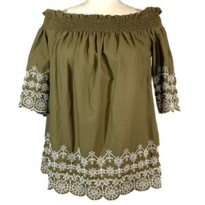 Abercrombie & Fitch Off Shoulder Embroidery Blouse